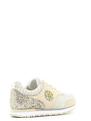 Scarpe Donna Guess Sneacker Reeta Blanc Jaune E16gu20 Blanc / Beige