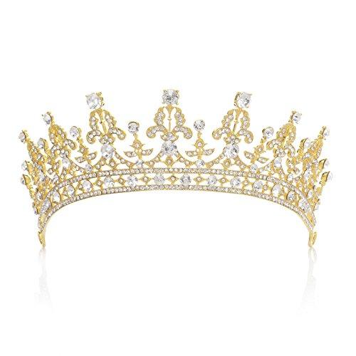 SWEETV Luxus Prinzessin Diadem Hochzeit Krone Braut Tiara mit Kristalle für Festzug Prom, Gold+Transparent