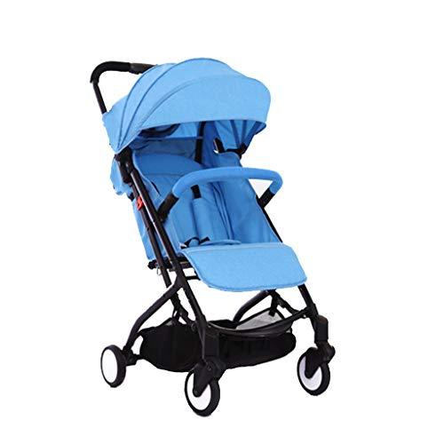 Baby stroller- Kinderwagen ultraleichte tragbare Folding kann sitzen Baby junge Kinder einfache Mini Pocket kleine Hand drücken Regenschirm (Farbe : Blau) (Folding Rack Drucken)