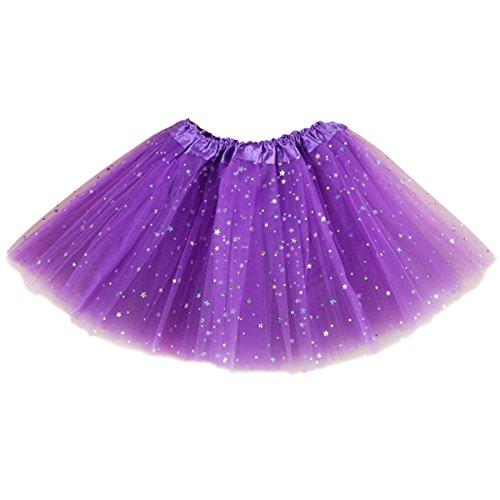 Ksnrang Damen Tüllrock Tütü Rock 3 Lagen Sterne Petticoat Tanzkleid Dehnbaren Mini Skater Tutu Rock Erwachsene Ballettrock Minirock für Party Halloween Kostüme (Lila, 3 Lagen)