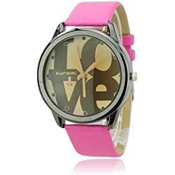Pink 'LOVE' round dial leather ladies fashion watch