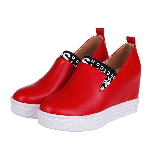 AgooLar Femme Tire Pu Cuir Rond à Talon Haut Couleurs Mélangées Chaussures Légeres Rouge