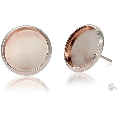 SiAura Material - 10 pz.  (5 paia) di orecchini in rame vergini, 13 x 14 mm per cabochon di 12 mm, colore: oro rosa