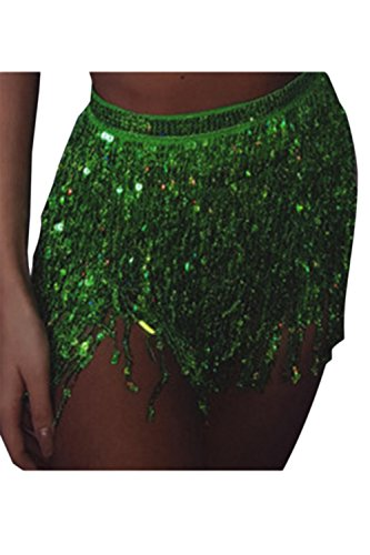 Damen Mini Rock Glänzt Tassel Paillettes Pailletten Party Tanzen Sommer Green One Size