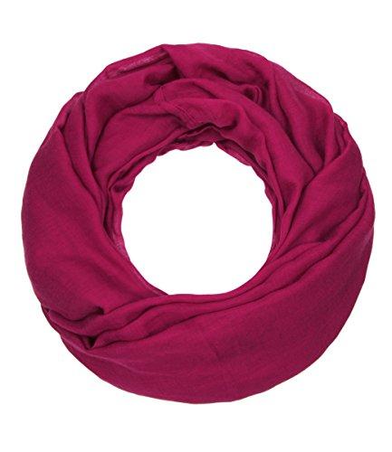 Majea Loop Cary Basic Schal Tuch Damen-schal Schlauchschal Rundschal Halstücher uni unifarben Loopschal einfarbig (magenta 1)