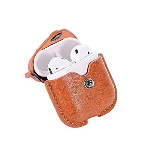 htfrgeds Leder Mini Kopfhörer Tasche mit Schnalle, Headset ohrhörer Schutztasche Macarons Farbe für In Ear Ohrhörer Für Apple AirPod 2/1 (Brown) - Für Apple Farbe Ohrhörer