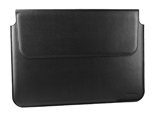 Emartbuy Black Premium PU Leather Magnetic Folio Wallet Case Cover Sleeve 13.3 Inch - 14.1 Inch Suitable for Devices Listed Below