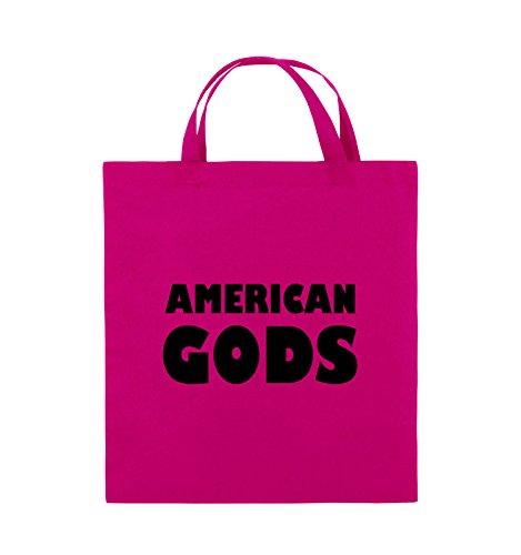 Comedy Bags - AMERICAN GODS - LOGO - Jutebeutel - kurze Henkel - 38x42cm - Farbe: Schwarz / Silber Pink / Schwarz