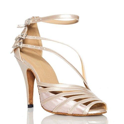Minitoo, QJ6105, sandali da ballo dadonna in pelle, modello spuntato, ideali per salsa, tango, liscio e balli latini, Marrone (Brown-10cm Heel), 38 EU