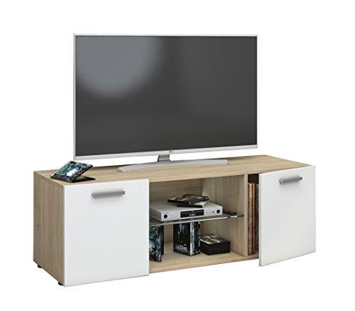 VCM Lowina 115 Meuble TV, Bois, Chêne Sonoma/Blanc, 40 x 115 x 36 cm