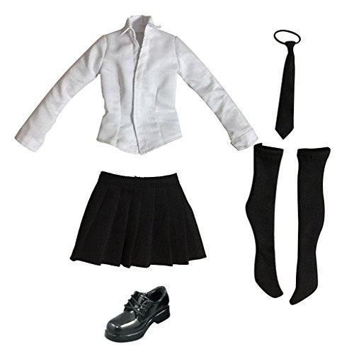 he Schulmädchen Schulkleidung - Langarm-Shirt, Plaidminirock, Krawatte, Strümpfe und Leder Schuhe Set - Schwarz (Schulmädchen-krawatte)