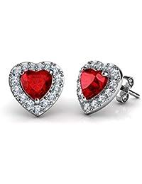 3eda69bada1d DEPHINI - Pendientes de corazón rojo - Plata de ley 925 - Piedra de  nacimiento de