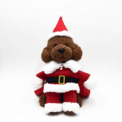 Yaoaoden Trendy Christmas Pet Clothes Comfortable Cotton Shirt with Hat Santa Claus Pet Dog Coat Costume Dress for Winter Trendy Winter Coats