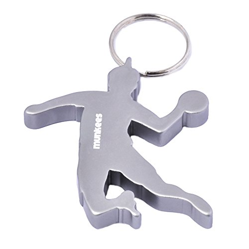 Munkees llavero handballer Jugadores, balonmano con abrebotellas, aluminio, plata