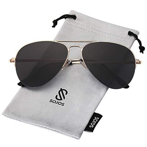 SOJOS Herren Damen Sonnenbrille Zwei Brücken Klassisch SJ1106 mit Gold Rahmen/Grau Linse