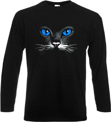 Langarmshirt, Farbe: Schwarz, USA Motiv: Katze Schwarz