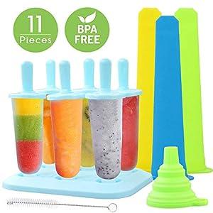 TedGem Eisformen, 6 Stück Eis am Stiel BPA Frei + 3 Stück Eislutscher Popsicle Formen + 1 Stück Silikon Trichter + 1 Pinsel (11pack)