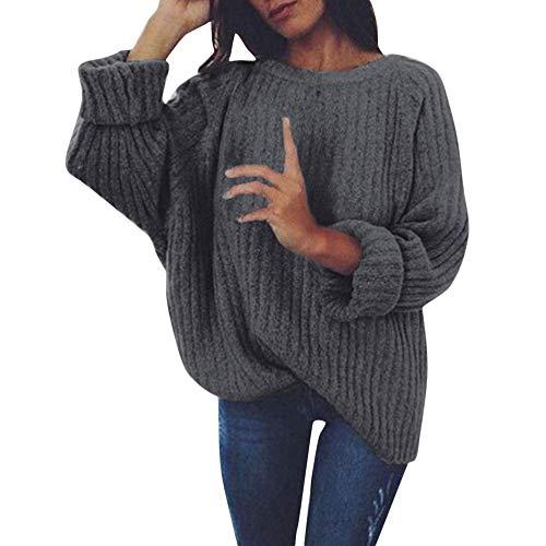 FRAUIT Strickpullover Damen Gestrickt Tief O-Ausschnitt Strickwaren Langarm Pullover Langarm Wrap Front lose Pullover Pullover Jumper