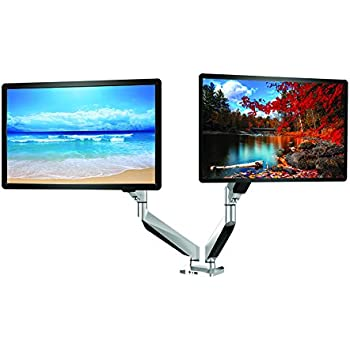 ThingyClub Dual Gas Spring LCD LED Desk Mount Arm Monitor Stand Bracket  with Tilt and Swivel (Tilt -90°/+85°Swivel 180°|Rotate 360°) Weighting 2-9KG