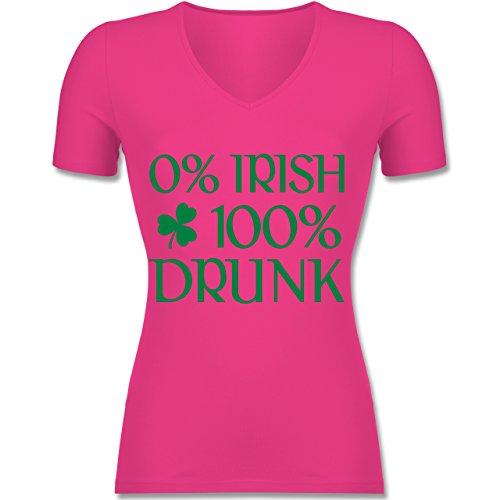 St. Patricks Day - 0% Irish 100% Drunk St Patricks Day - Tailliertes T-Shirt mit V-Ausschnitt für Frauen Fuchsia