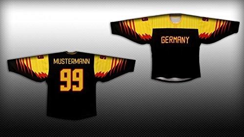 Deutschland Eishockey Fan Trikot schwarz / gold, Größe:XXS, Spielernamen:Name + Nummer nach Wahl
