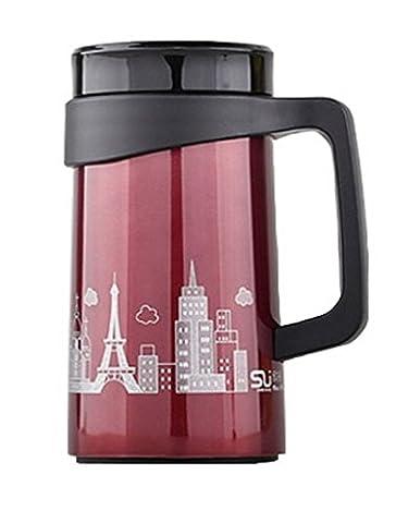 ACMEDE - Thermos Tasse Isotherme De Thé Café Mug Pour Voyage En Acier Inoxydable Insulated Vacuum Cup 500ML - Rouge