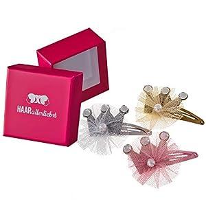 HAARallerliebst 3 Haarspangen mit Kronen und Tüll (ca.5cm | Rosa Gold Silber | 3 Stück) inkl. Schachtel zur Aufbewahrung