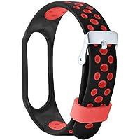 Liqiqi para Xiaomi Mi Band 3 Correas de Repuesto de Silicona Suave y Ligera, Correa de Reloj de ventilación a Prueba de Sudor Deportivo para Xiaomi Mi Band 3 Smart Watch, Color Rojo, tamaño EU