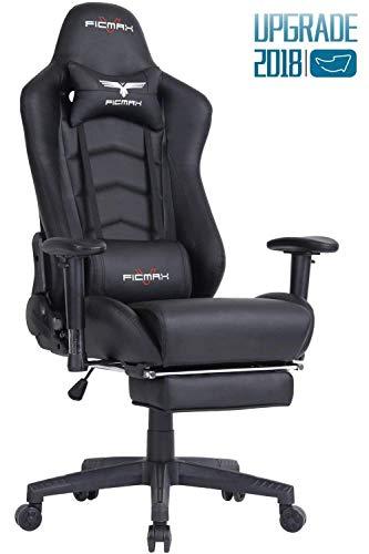 Ficmax Gaming Stuhl Ergonomische Kunstleder Bürostühle für Computer, Racing Sessel mit Massage Lendenkissen. Esports Schreibtischstuh mit Fußstütze. (schwarz)