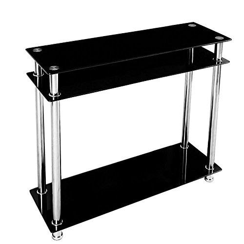 chinkyboo 3 tier modern black glass narrow console table chrome finish