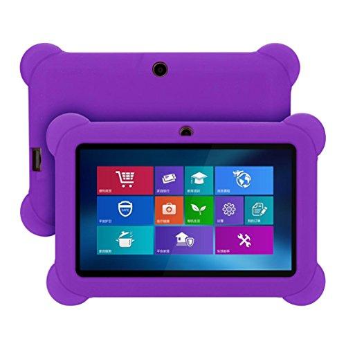 Voberry Hülle Case, 7-Zoll-weiche Anti-Rutsch-stoßfest Silikon-Gel-Gummi-Slim-Fit-Schutz zurück Fall Deckung für Android Tablet Q88 (Lila) (Ipad Deckung Lila)