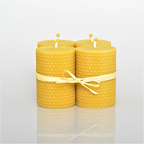 100% Reines Bienenwachskerzen Set 4 Kerzen Größe 6 x 8.5 cm Ökologische kerzen Natürlichen Honigduft 100% Handarbeit