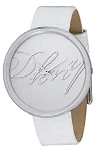 DKNY NY3996 Ladies White Dial, White Leather Strap Watch