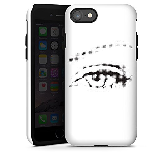 Apple iPhone X Silikon Hülle Case Schutzhülle Auge Grafik Punkte Tough Case glänzend