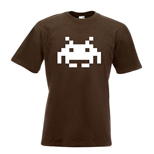 KIWISTAR - Space Invaders T-Shirt in 15 verschiedenen Farben - Herren Funshirt bedruckt Design Sprüche Spruch Motive Oberteil Baumwolle Print Größe S M L XL XXL Chocolate