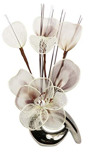 Flourish 798529 - Jarrón diseño flores crema café