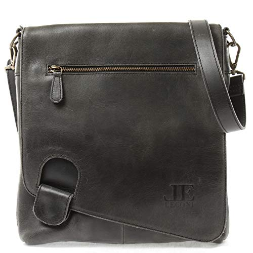 LECONI Umhängetasche Damen-Tasche Crossbag Rinds-Leder Natur Schultertasche Vintage-Look Ledertasche Frauen + Herren Handtasche aus Echt-Leder 29x29x6cm dunkelgrau LE3073-buf