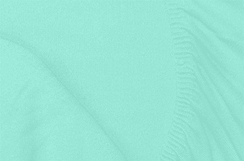 Double Jersey - Spannbettlaken 100% Baumwolle Jersey-Stretch bettlaken, Ultra Weich und Bügelfrei mit bis zu 30cm Stehghöhe, 160x200x30 Aqua - 7
