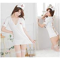 GHJFGJNF Dessous Maid Cosplay Sexy Uniform Krankenschwester Rolle Spielen Anzug Krankenschwester Kostüm Nachtwäsche Erotische Dessous Set_ (Weiß)