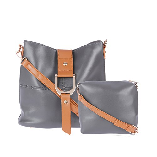 Sling Bags for Women by Fur Jaden, Stylish D.Grey Colour Branded Sling Bag for College Girls with additional Sling Pouch