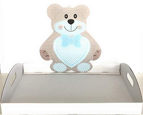 Le gemme di venezia cesto vassoio teddy b compleanno battesimo base cm44x29 alta 5 elegante made in italy (teddy azzurro)