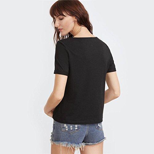 Bluestercool Femmes T-Shirts d'été Mode Chemise manches courtes Blouse Débardeurs décontractés Noir