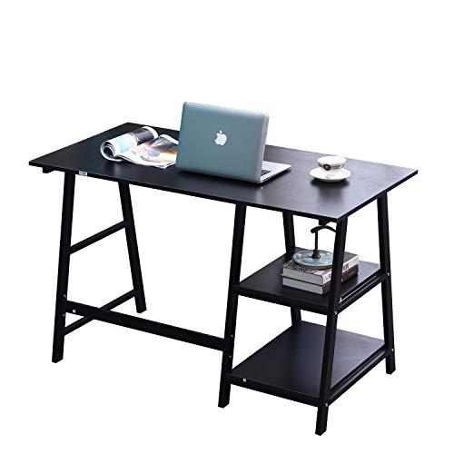 SogesHome 120 * 60 Computertisch mit Regaltischen Computerarbeitsplatz Stabiler Schreibtisch aus Holz,Tplus-BK-SH