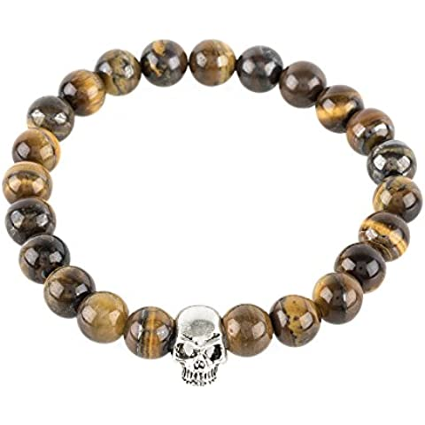 Skull Bracelet Sterling Silver Tigers Eye