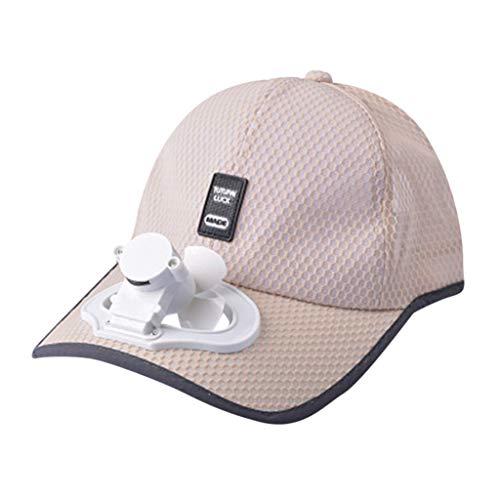 Net Baseball Cap mit Fan Aufladen Lüfterhaube Mütze Angelmütze Sport Outdoor Angeln Joggen Fahrrad Tennis Golf Hut Kopfbedeckung Krempe USB Ventilator Kappe Kühlerlüfter ()