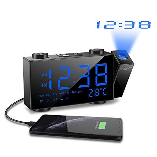SZMDLX Despertador con proyector y radio FM, reloj despertador digital de mesa, reloj...
