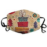 Risating Custom Mask Reusable Anti Dust Face Mouth Cover Vintage Christmas Gift Bell Polka Dot Mask Warm Windproof