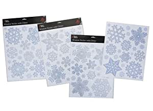 Autocollants pour fenêtres pailleté flocon de neige Noël argent et bleu (PM14)