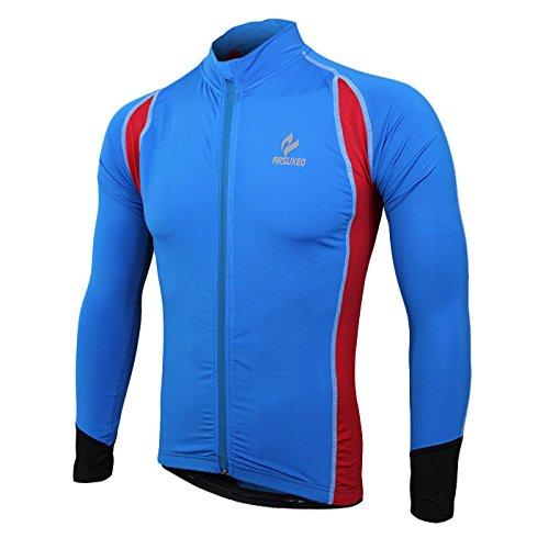 Frühling Sommer Radfahren Jersey Jacke Lycra Sport Top Shirt mit reflektierenden Streifen Atmungsaktive Elastische Kompression Reiten Laufen Kleidung Rot 3XL (Top Pj Streifen)