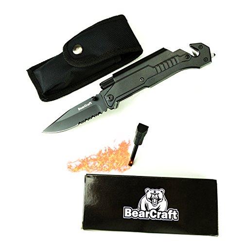 BearCraft Cuchillo Plegable | Cuchillo de Bolsillo de Supervivencia al Aire Libre con Borde Serrado | Cuchillo de Rescate con Mini Linterna LED Pedernal de Vidrio y Cortador de Cinturón